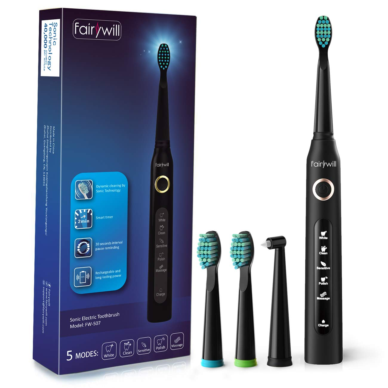 Electric Toothbrush Clean as Dentist Rechargeable Sonic Toothbrush with Smart Timer 4 Hours Charge Minimum 30 Days Use 5 Optional Modes Whitening Toothbrushes for Adults with 3 Brush Heads Black by Fairywill