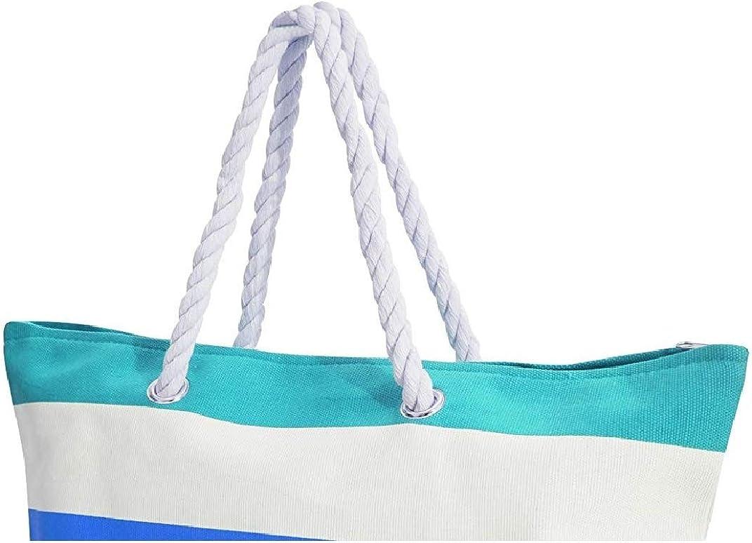 FLOSO Womens//Ladies Stripe Patterned Canvas Summer Handbag