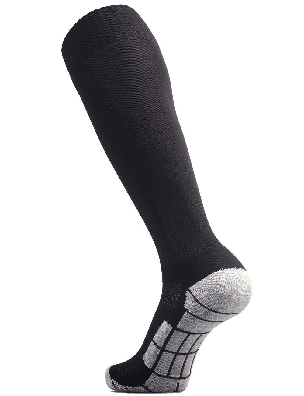 CWVLC Lillte Boy's Soccer Socks Kids Football Sport Team Athletic Knee High Long Tube Cotton Compression Socks Black X-Small (12C-13C Kids/ 1Y-3Y Youth) by CWVLC