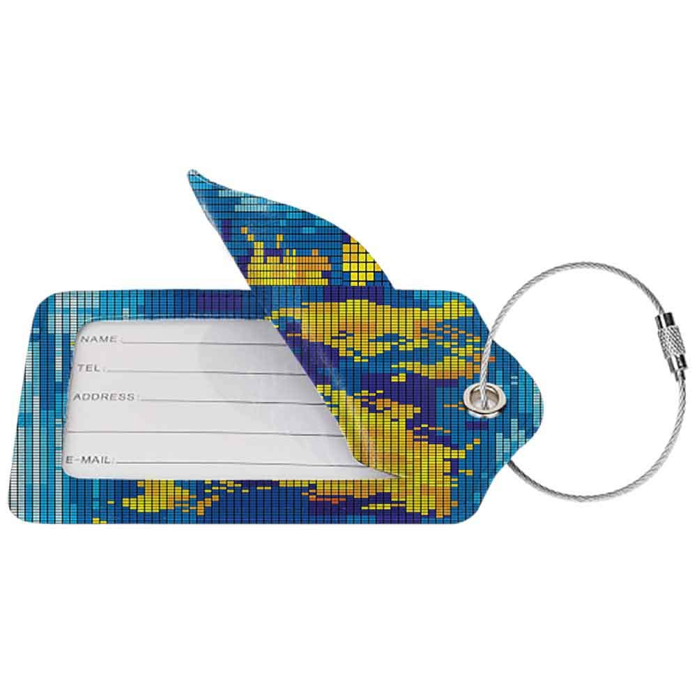 Modern luggage tag Digital Geometric Squared Modern World Print Global Universe Artwork Image Suitable for children and adults Earth Yellow Blue Sky Blue W2.7 x L4.6