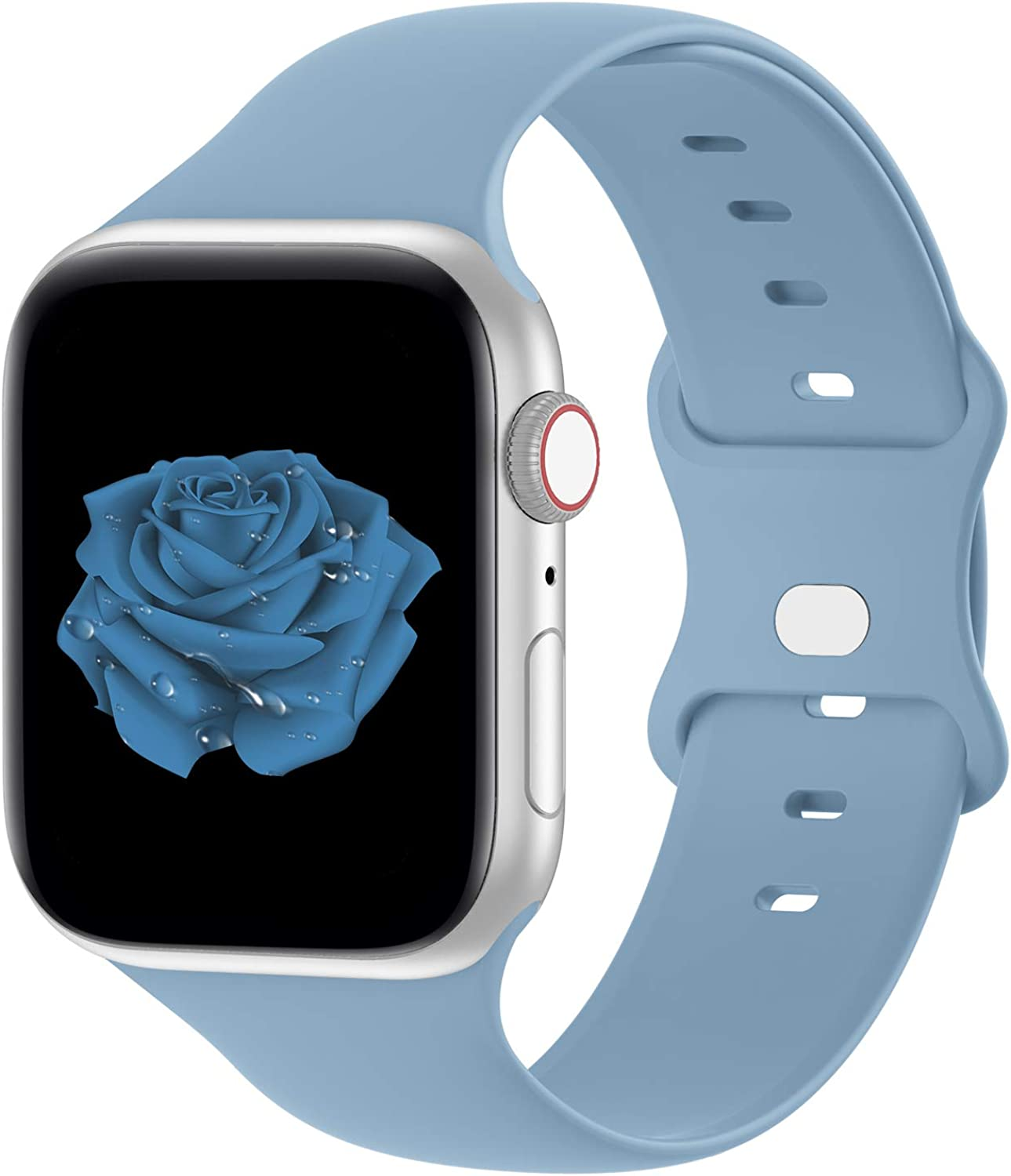 Bandiction Compatible with Apple Watch Series 3 38mm Series 5 40mm iWatch Bands 38mm 40mm Women Men, Soft Silicone Sport Replacement Strap Compatible for iWatch SE Series 6 5 4 3 2 1, Sport Edition
