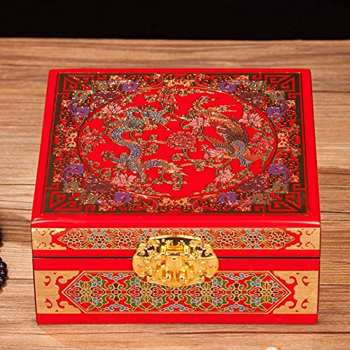 HAIHF Jewellery Box with Mother of Pearl, Handmade wooden mother of pearl jewellery box/lacquer, Chinese Oriental Furniture & Gifts - Square