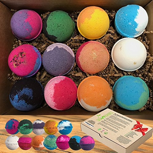 Bath Bombs Gift Set by Sky Organics, 12 x 3.2 Oz Ultra Lush Large Bath Bombs Kit, Best for Aromatherapy, Relaxation, Moisturizing with Organic Essential Oils -Handmade in USA -Organic Spa Fizzies