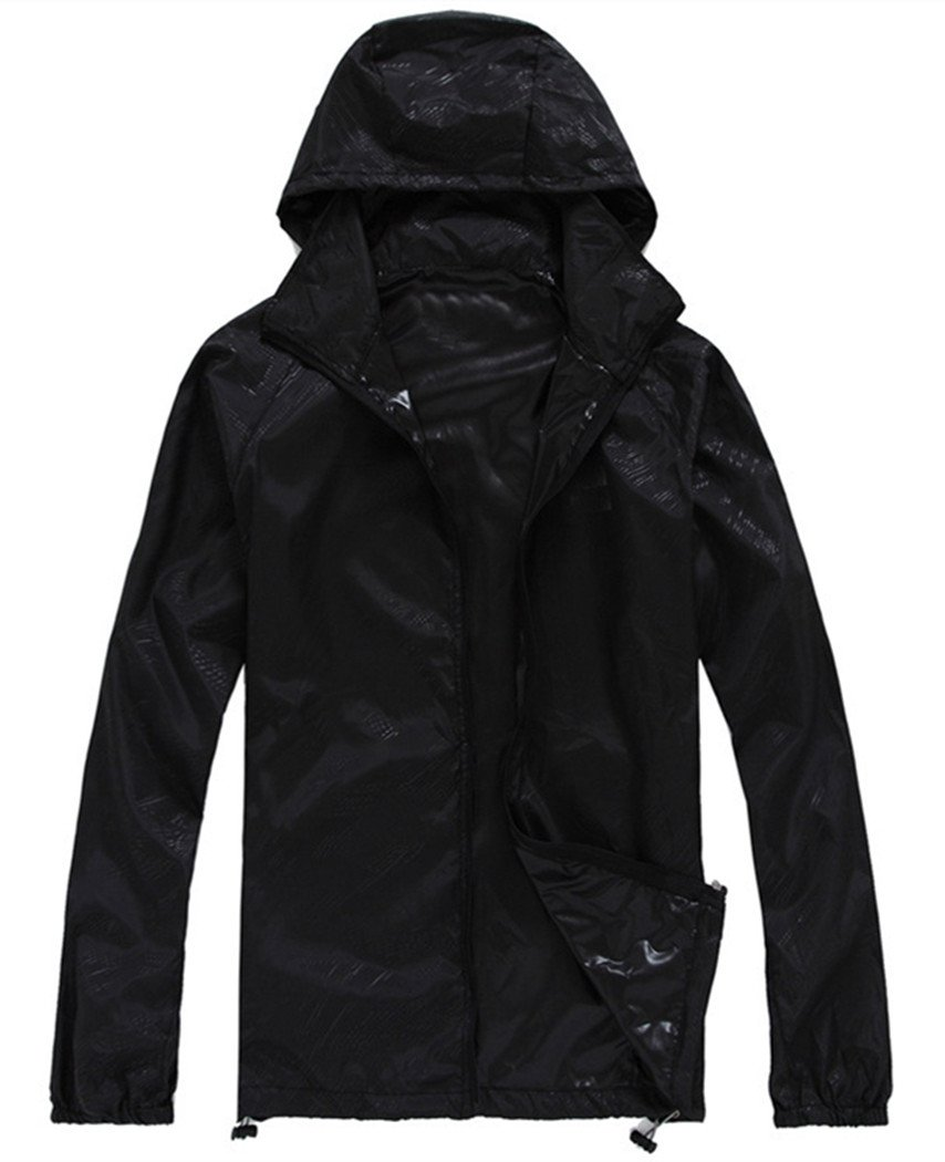 Lanbaosi Women's Super Lightweight UV Protect+Quick Dry Waterproof Skin Jacket Black Size S