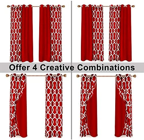 LORDTEX Mix and Match Curtain – 2 Pieces Moroccan Print Sheer Curtains and 2 Pieces Faux Dupioni Silk Curtains for Bedroom Living Room Grommet Window Curtains Set of 4 Panels 27×84 Panel, Burgundy