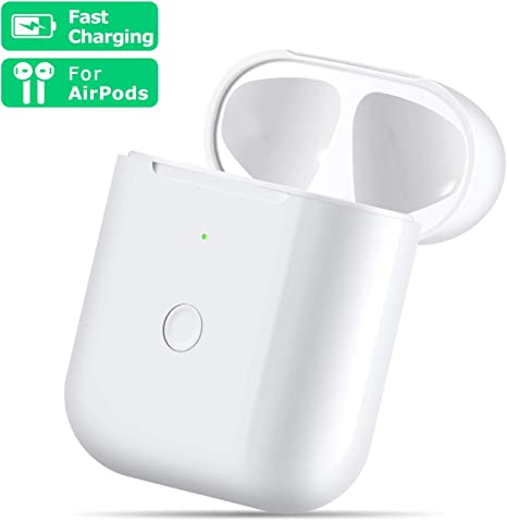 White Compatible with AirPods 1 2,Wireless Airpods Charging Case with Bluetooth Pairing Sync Button,Air pods Charger Case Replacement not for airpod pro