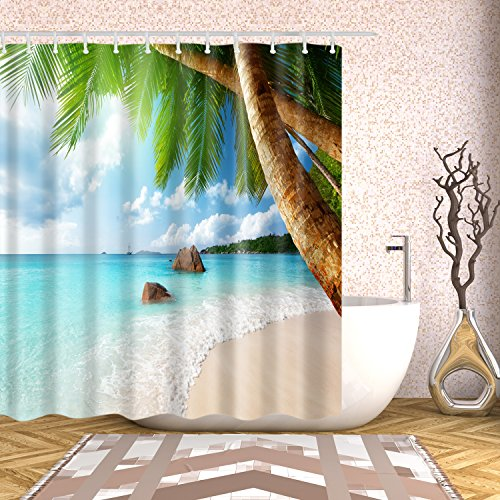 Fangkun Palm Tree Shower Curtain Decor set - Palm Trees on Tropical Island Beach Panoramic View Picture Print - Polyester Fabric Bathroom Bath Curtains with Hooks (YL066#, 72 x 72 inches)