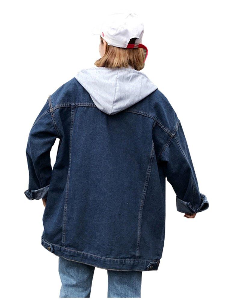 Kedera Womens Casual Loose Style Denim Lapel Long Coat Jacket