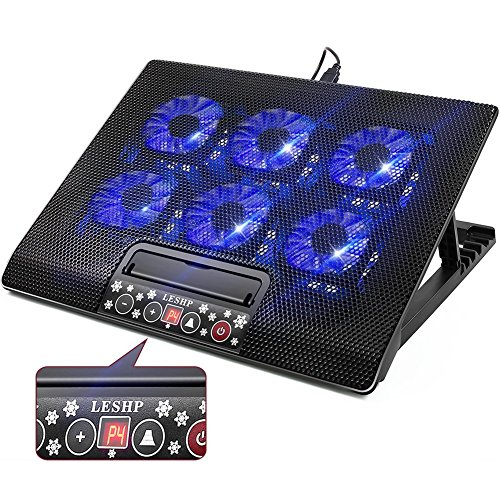 6 Quiet Fans Gaming Laptop Cooling Pad Lap for MacBook Pro / Air HP NoteBook, 15.6 - 17 Inch, LCD Screen, 2 USB Ports - Adjustable Computer Cooler Stand with Removable USB Power Line, Blue LED,Black