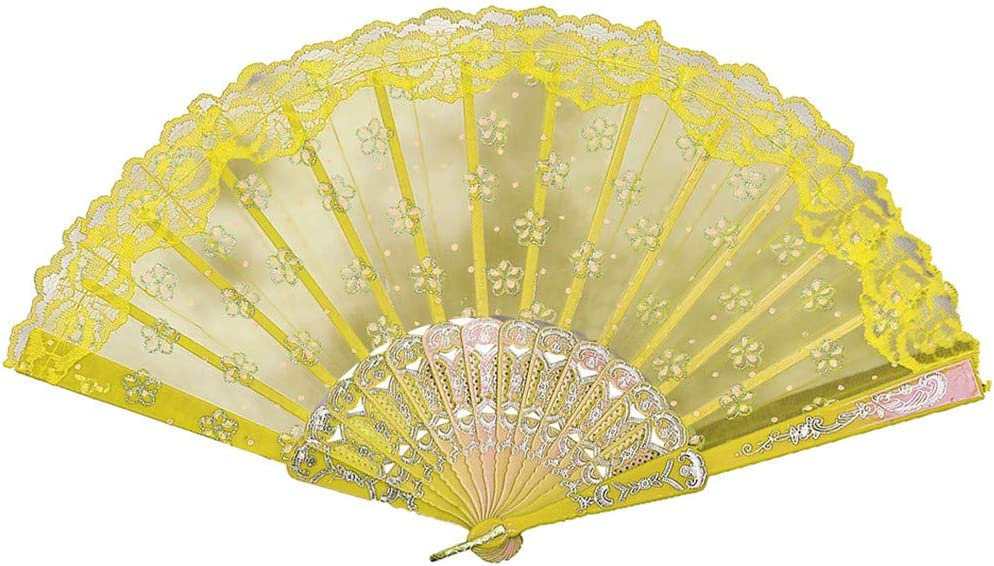 Weite Vintage Chinese Style Lace Silk Dance Fan for Women/Men, Handheld Folding Hand Rave Decorative Fans for Wedding Party Favor Fancy Dress Home Office Wall Decor (Yellow)