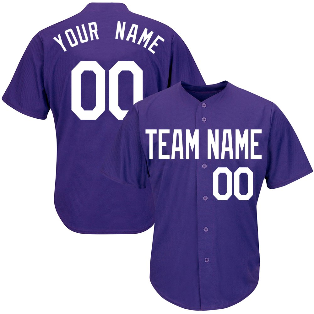 Customized Youth Purple Baseball Softball Jersey with Embroidered Your Name and Numbers,White Size M by DEHUI