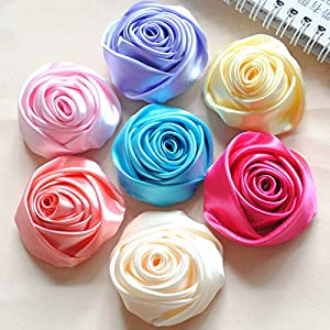 XGM GOU 10Pcs/Lot Handmade Dia 5.5Cm Fabric Satin Rose Flowers Artificial Flower DIY for Bridal Bridesmaid Wedding Bouquet Accessoires 1