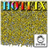 The Crafts Outlet DMC HOTFIX Iron on Superior Quality Glass 720-Piece Round Rhinestone Embellishment, 2mm, Lemon Yellow