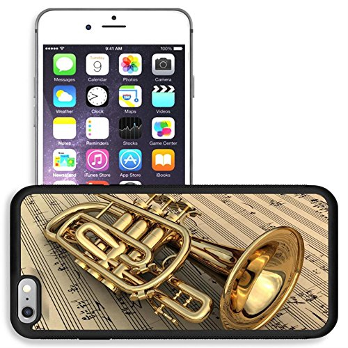 Liili Apple iPhone 6 plus iPhone 6S plus Aluminum Backplate Bumper Snap iphone6plus/6splus Case Brass lacquered trumpet laying on music notes Photo 9208897 ()