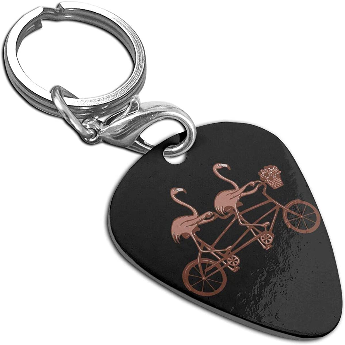 Pink Flamingos On Tandem Bike Custom Guitar Pick Pendant Necklace Keychain