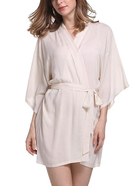 Feoya - Bata Kimono con Cinturón para Mujer Color Puro Larga Ropa de Dormir - Caqui