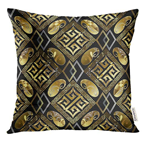 Square Design Greek Gold (Golee Throw Pillow Cover Abstract Luxury Geometric Black Floral with Vintage Gold Greek Key Rhombus Squares Frames Shapes Figures Decorative Pillow Case Home Decor Square 18x18 Inches Pillowcase)