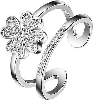 Cosanter Lucky Quadrifoglio doppio Deck design elegante anello gioielli–anello da donna regolabile oeffnungsring per donna