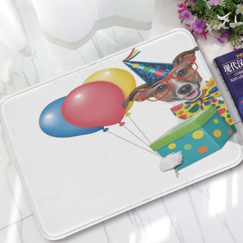 YOLIYANA Modern Carpet,Birthday Decorations for Kids,for Living Room Bathroom,15.75''x23.62'',Colorful Balloons Boxes Dots Print Dog