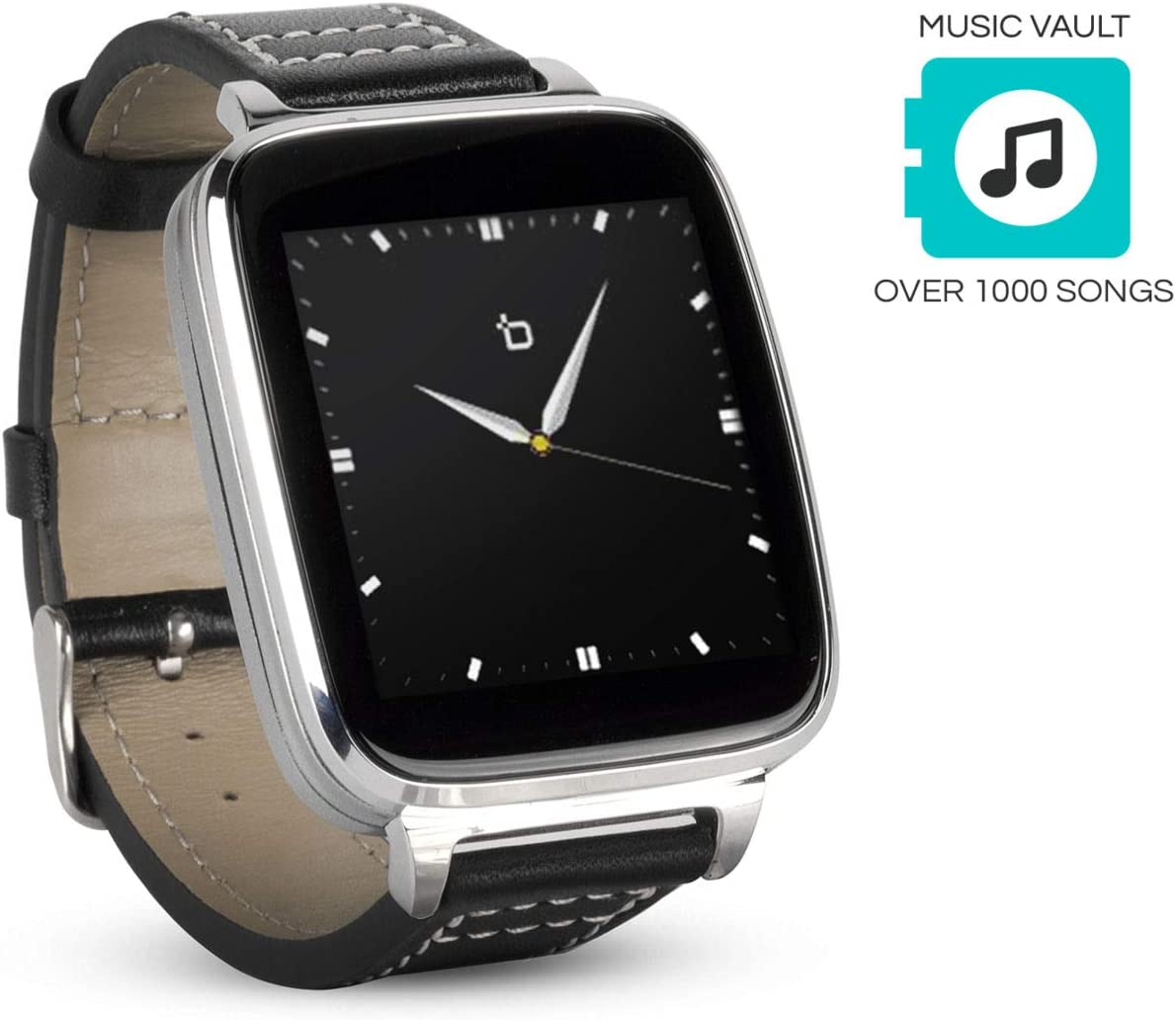 Beantech Smart Watch for Apple/Android Phones. 8GB of Music Storage. Silver with Leather Strap.