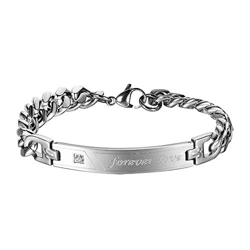 953f8df5a7da JewelryWe Schmuck Edelstahl Armband Panzerarmband mit Forever Love Gravur  Panzerkette Partnerarmband Herren Männer Armreif, Silber