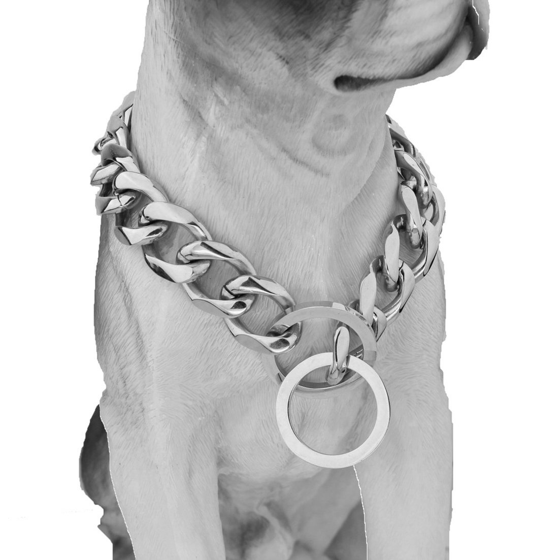 10/12/15/17/19mm Strong Curb Cuban Link 316L Stainless Steel Dog Choke Chain Collar 12-36inch(26inches,19mm)