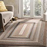 Safavieh Braided Collection BRD313A Hand Woven Brown and Multi Area Rug (8' x 10')