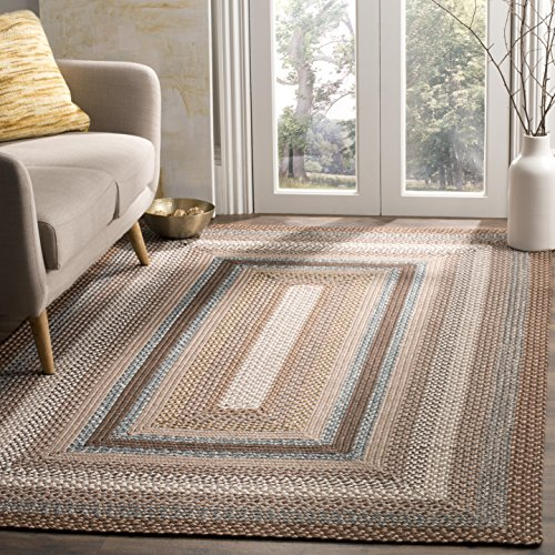 (Safavieh Braided Collection and Woven Brown and Multi Area Rug (6' x)