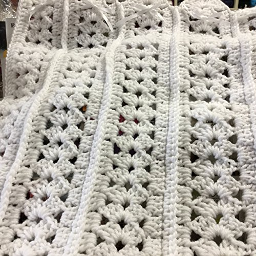 Hand Crocheted Baby Afghan - Hand Crocheted White Mile a Minute Baby Afghan