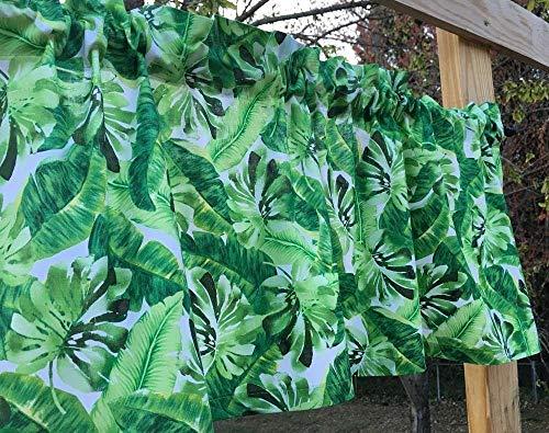 Tropical Island Green Leaf Print Banana Palm Leaves White Handmade Valance NEW