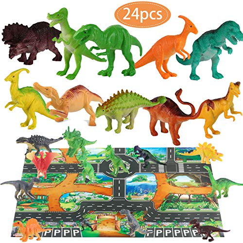 (Dinosaur Toys and Play Mat Dinosaur Figurines Set Jurassic Park Toys for Birthday School Playtime Kids Boys Girls Tyrannosaurus Rex, Stealing Egg Dragon, Raptor, Triceratops ,etc)