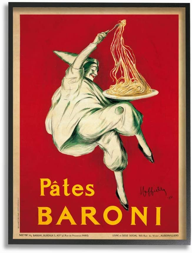 Stupell Industries Pates Baroni Vintage Poster Food, Design by Marcello Dudovich Wall Art, 11 x 14, Black Framed