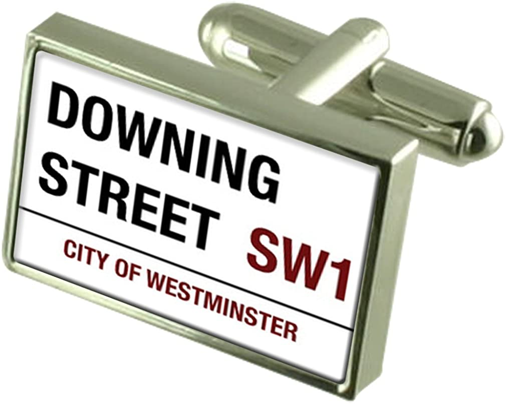 Select Gifts Downing Street Road Sign Cufflinks Engraved Message Box