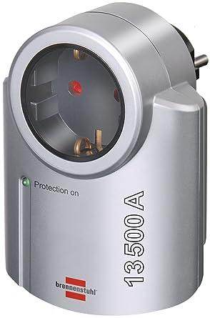 Brennenstuhl Primera-Line, Steckdosenadapter mit Überspannungsschutz (Adapter als Blitzschutz für Elektrogeräte) Farbe: silbe