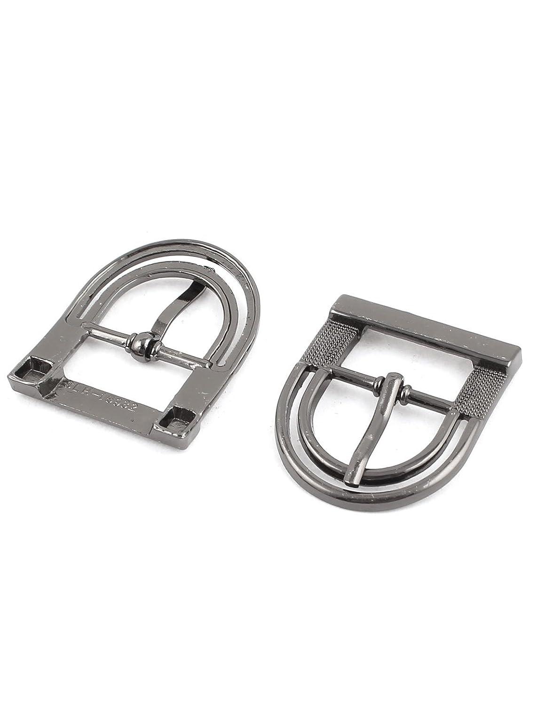 2 Pcs Metal Arched Design Belt Band Center Bar Buckles for Women Men