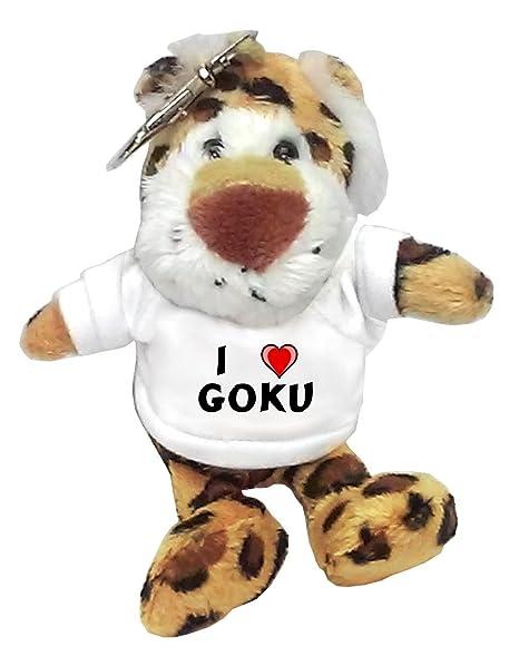 Leopardo de peluche (llavero) con Amo Goku en la camiseta ...