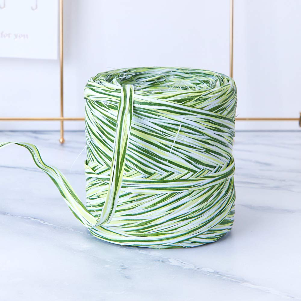 Grass Colored Paper Raffia, 200 Meters / 218 Yards by Funbou