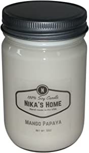 Nika's Home Mango Papaya Soy Candle - 12oz Mason Jar
