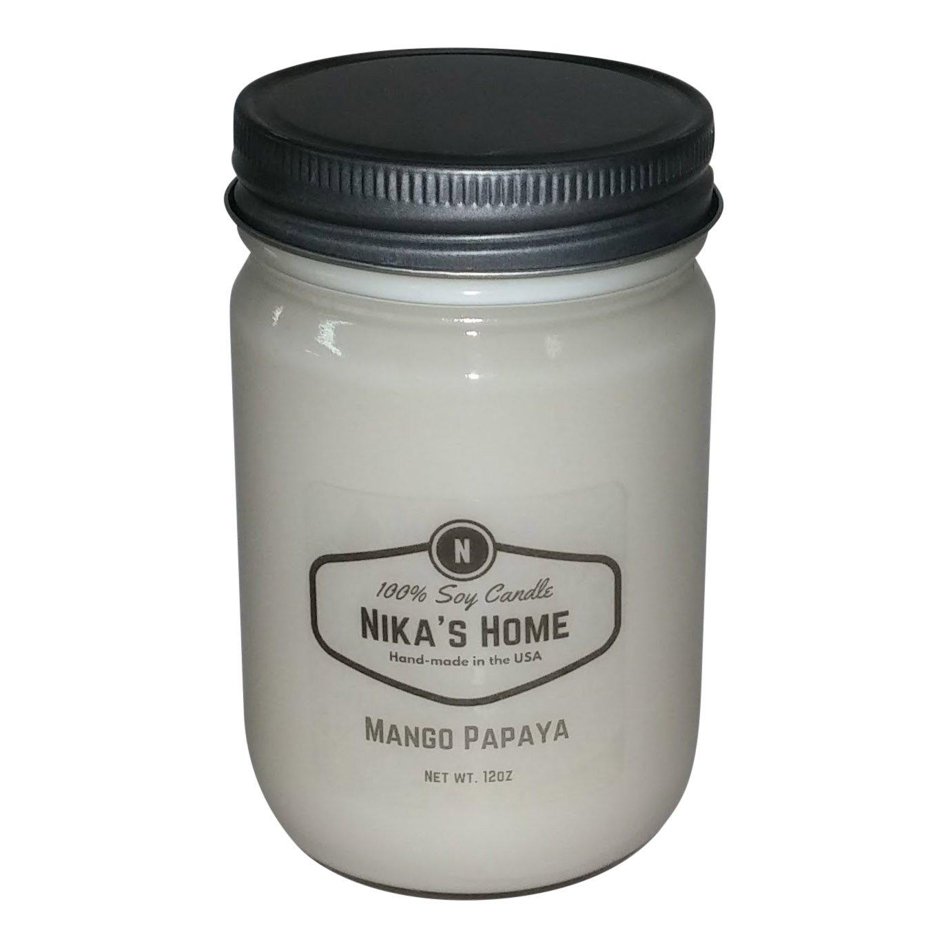 Nika's Home Mango Papaya Soy Candle - 12oz Mason Jar