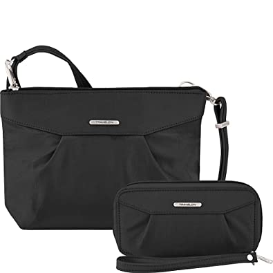 f27022ac3a Travelon Anti-Theft Crossbody and RFID Clutch - Small Handbag & Wallet Set  for Travel