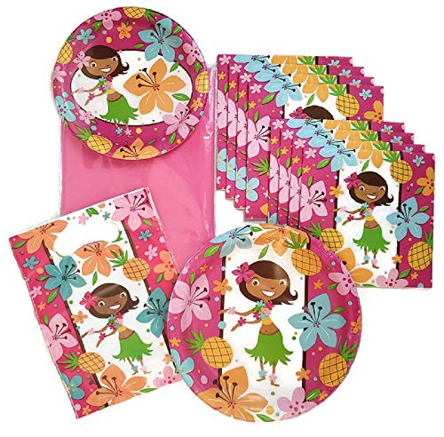(Birthday Party Supplies for Girls Includes Paper Plates, Napkins, Tablecloth and Treat Bags, Service for 8 Guests)