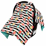 JLIKA Baby Car Seat Canopy Cover - Infant Canopy Cover for newborns infants babies girls boys best shower gift for carseats - Modern Floral - Aqua