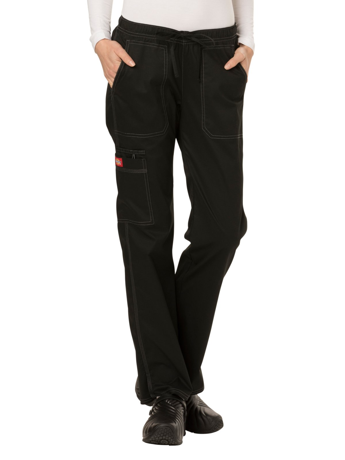 Dickies Gen Flex Women's Low Rise Straight Leg Scrub Pant Large Black