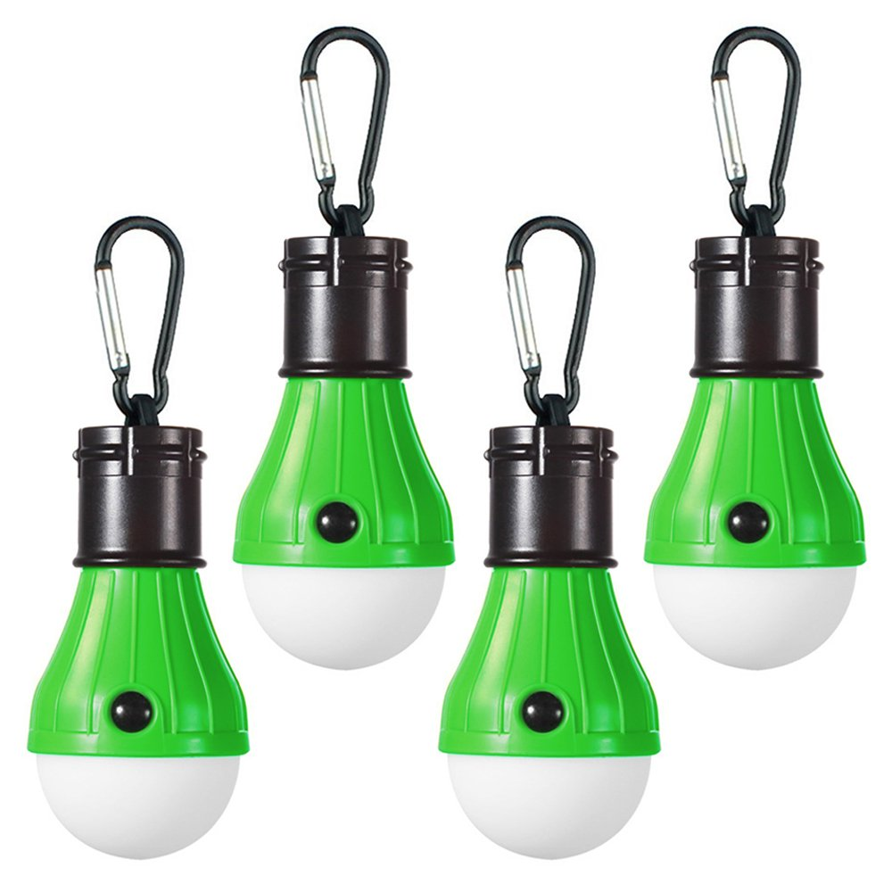 LED Camping Light [4 Pack] Doukey Portable LED Tent Lantern 4 Modes for Backpacking Camping Hiking Fishing Emergency Light Battery Powered Lamp for Outdoor and Indoor (Green)