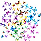Wall Decals Butterfly 3D Sticker Decor - 72PCS Home Decoration for Living Room, Kids and Teen Girls Removable Mural Wall Art, Baby Nursery Bedroom Bathroom, Waterproof DIY Crafts