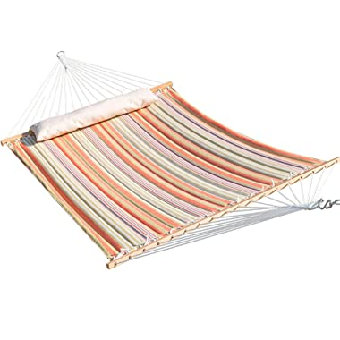 Lazy Daze Hammocks Fade-Resistant Quilted Hammock Double Size Spreader Bar Heavy Duty Stylish Hammock Swing Bed with Pillow, Cottony-Soft Fabric Material for Two Person, Orange & White Stripe