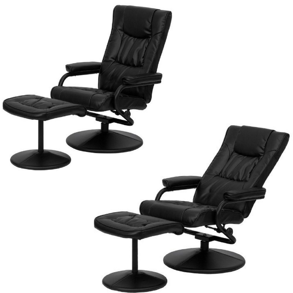 Magnificent Amazon Com Black Modern Leather Recliner With Ottoman Gamerscity Chair Design For Home Gamerscityorg