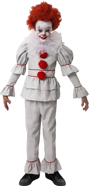 D Y S M A D Gojoy Shop- Disfraz de Payaso Asesino para Niño para Halloween, (Contiene Camiseta, Pantalón y Cuello,4 Tallas) (7-9 años)