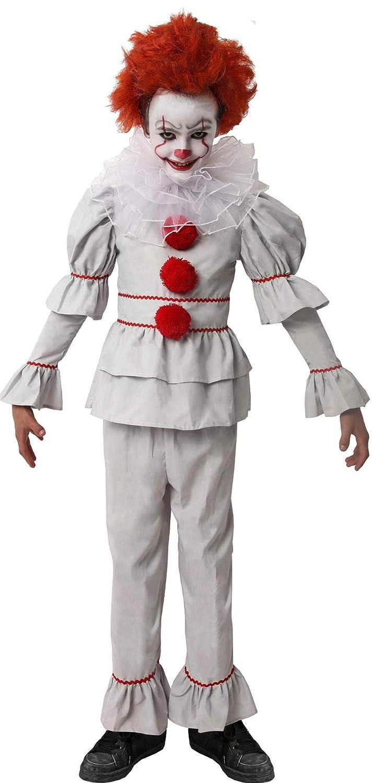 DYSMAD Gojoy Shop- Disfraz de Payaso Asesino para Niño para Halloween, (Contiene Camiseta, Pantalón y Cuello,4 Tallas) (7-9 años)