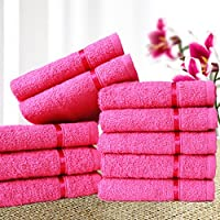 Story@Home Sensational Solid 10 Piece 450 GSM Cotton Face Towel Set - Pink, 10 Piece